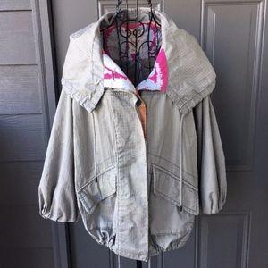 Free People Cotton Khaki Hooded Cargo Jacket
